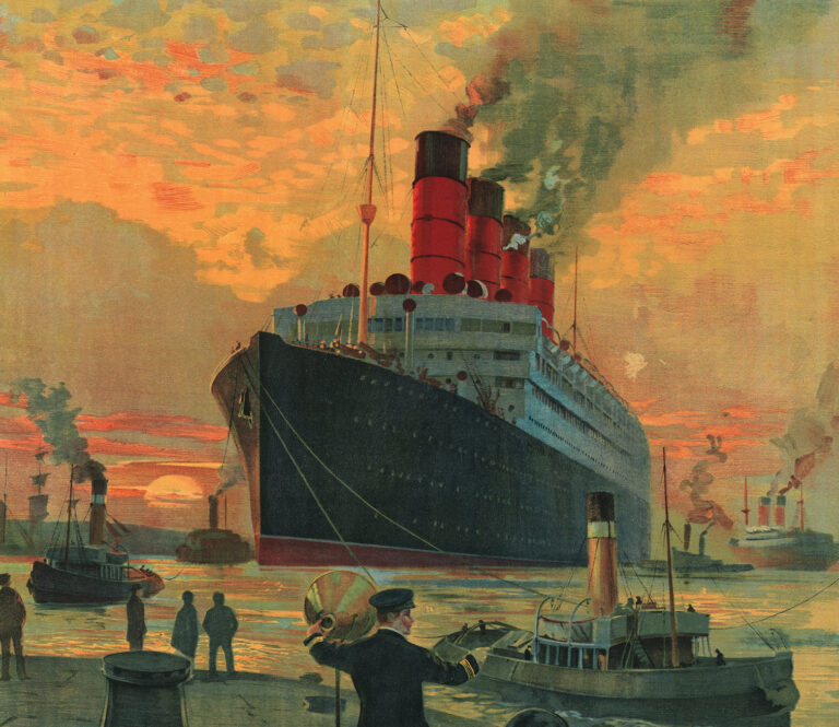 RMS Aquitania entering a port at sunset
