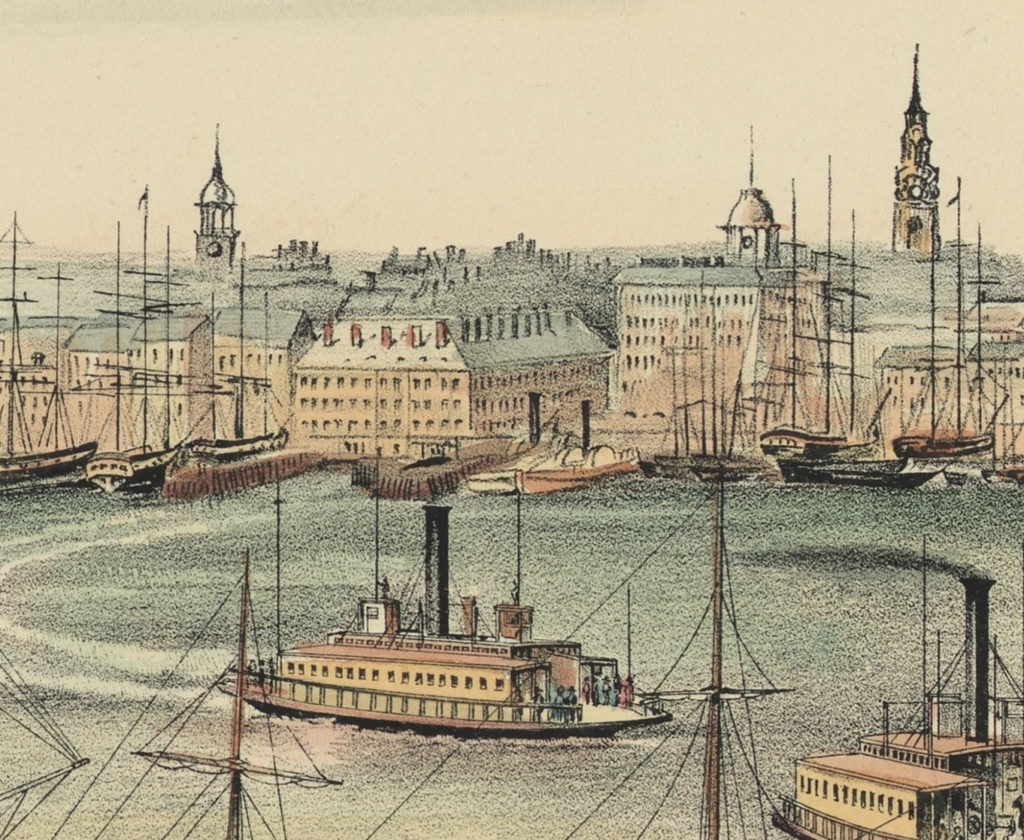 "Detail of ""View of New York From Brooklyn Heights"" 1849"