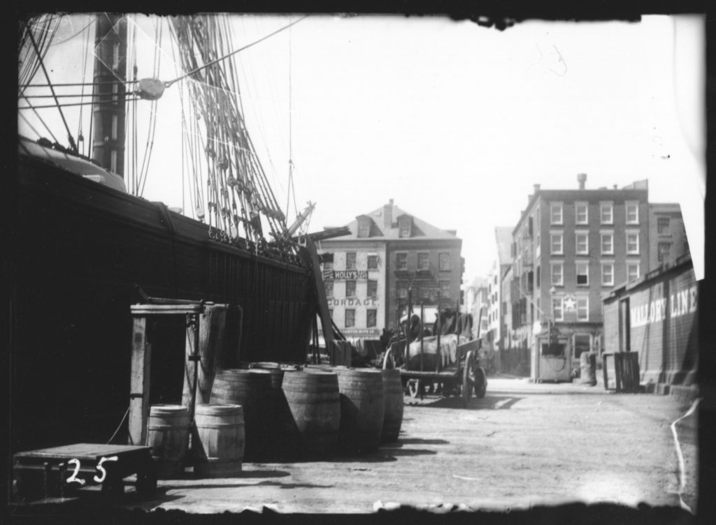 View of Fletcher Street from Pier 19, ca. 1890-1915,  from the Museum's Thomas W. Kennedy Collection