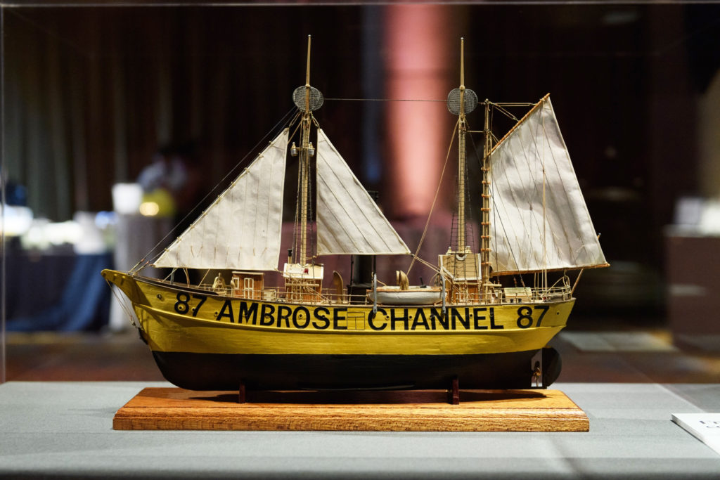 Scale ship model of lightship Ambrose with the original yellow color