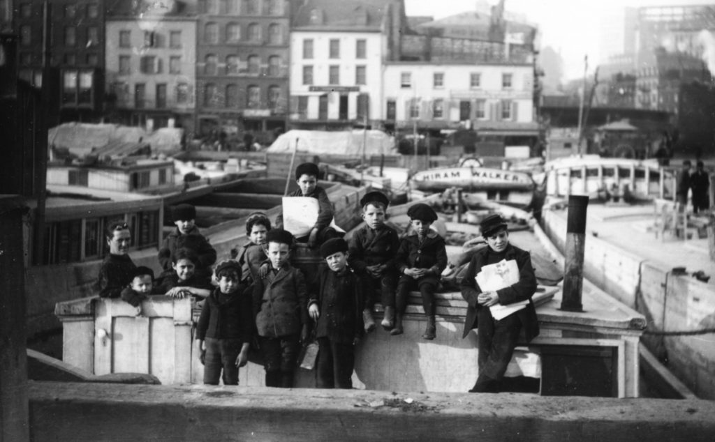 Canal boat children on a barge at Coenties Slip, ca. 18901915 from the Museum's Thomas W. Kennedy Collection